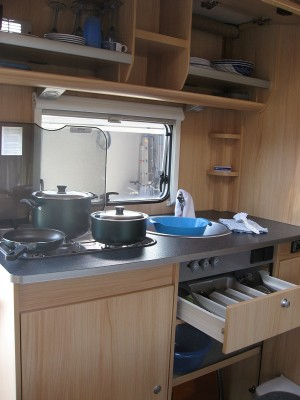 Kitchen of our A68, budget